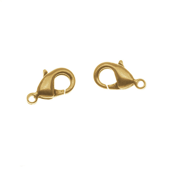 Nunn Design Antiqued 24kt Gold Plated Lobster Clasps 12mm (2)