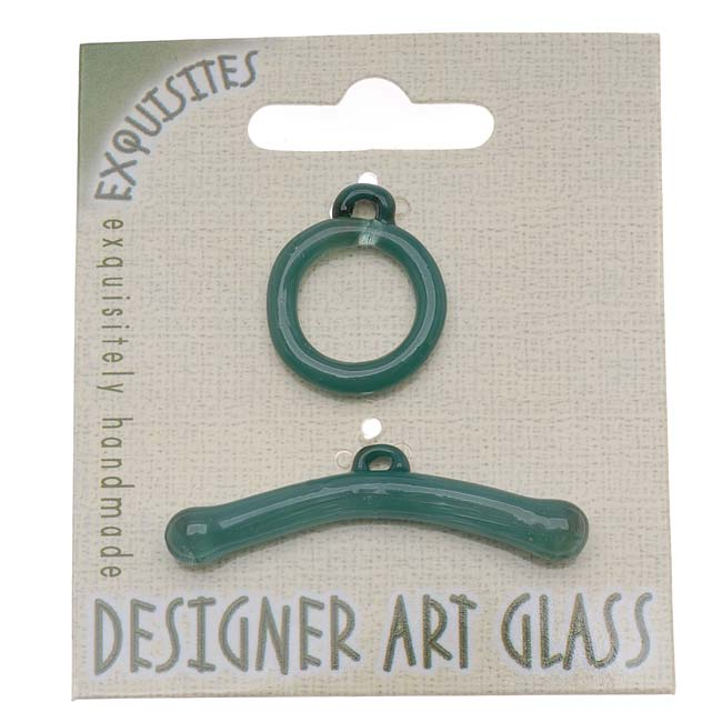 The Beadsmith Borosilicate Glass Toggle Clasp - Aqua - 19.5mm (1)