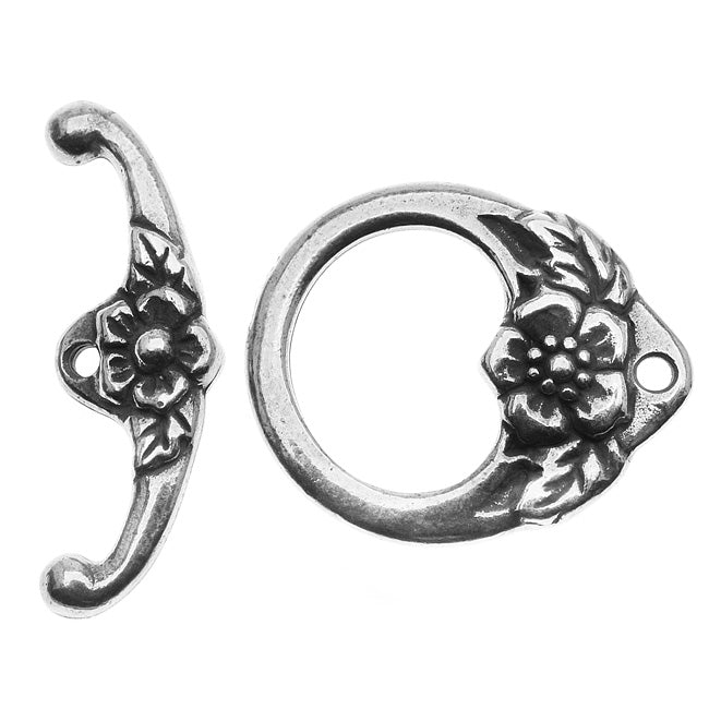TierraCast Antiqued Silver Plated Lead-Free Pewter Flower Toggle Clasp 16.5mm - 1 Set