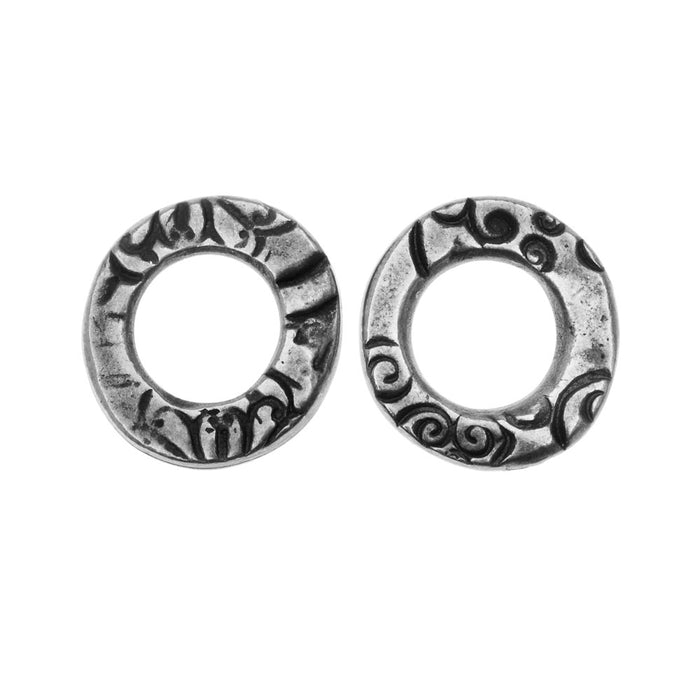 TierraCast Connector Link, Flora Ring 13mm, 2 Pieces, Antiqued Pewter