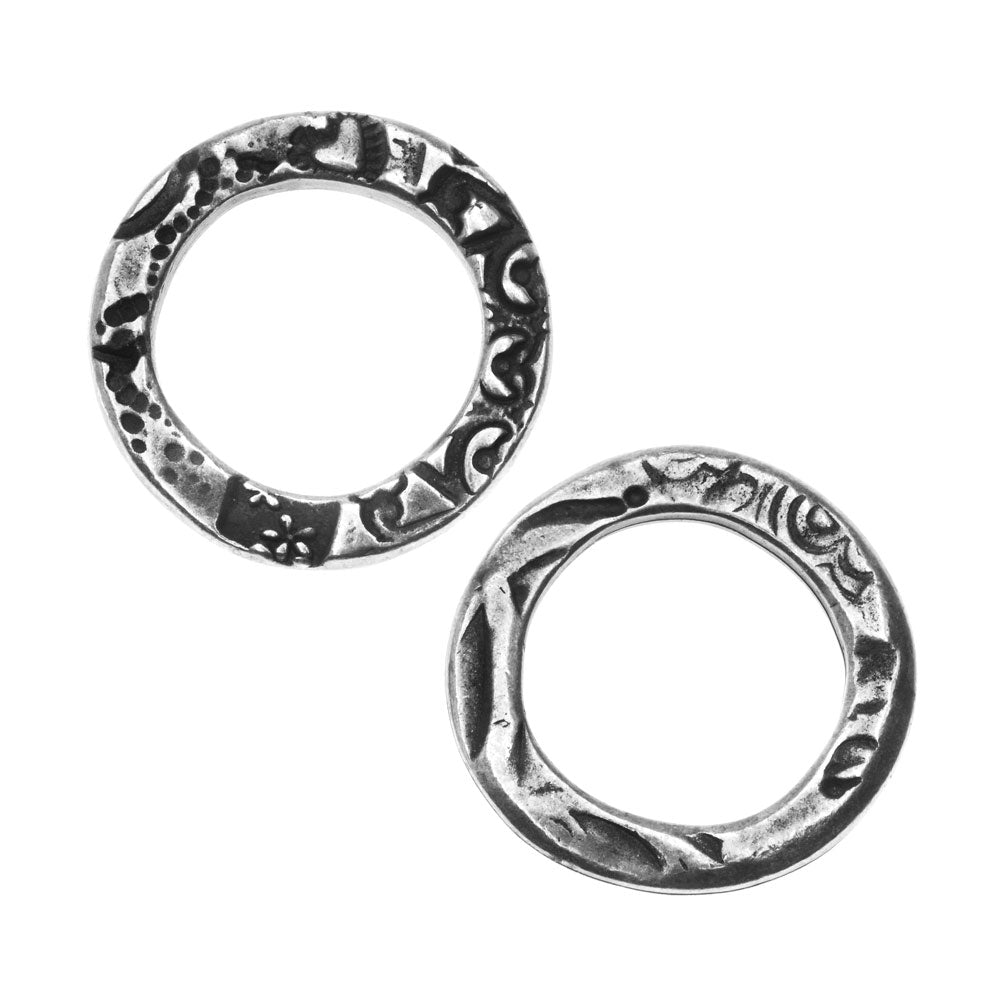 TierraCast Connector Link, Flora Ring 20.5mm, 2 Pieces, Antiqued Pewter