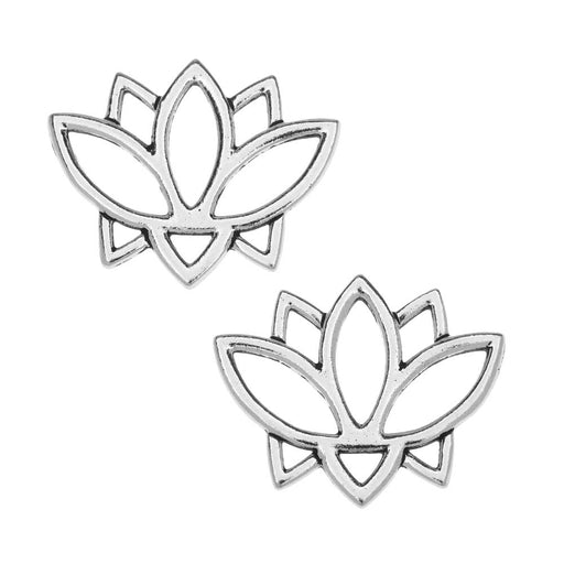 TierraCast Pewter Connector Links, Open Lotus Flower Design 19x23.5mm, 2 Pcs, Antiqued Silver Plated