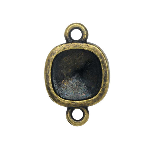 TierraCast Hammertone Bezel Link, Antiqued Brass, Fits Cushion Square 10mm, 1 Piece
