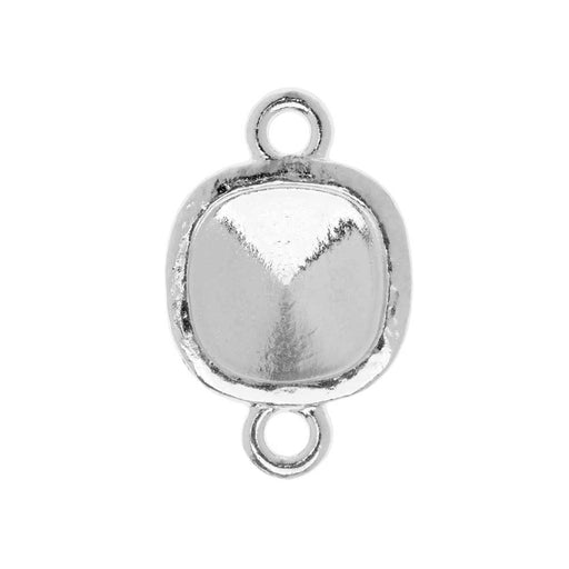 TierraCast Hammertone Bezel Link, Rhodium Plated, Fits Cushion Square 10mm, 1 Piece