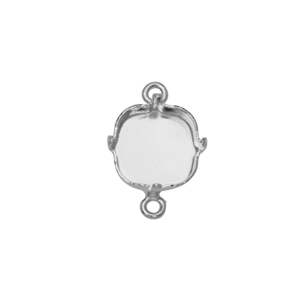 Gita Jewelry Setting for Swarovski Crystal, Square Connector for 10mm Cushions, Rhodium Plated