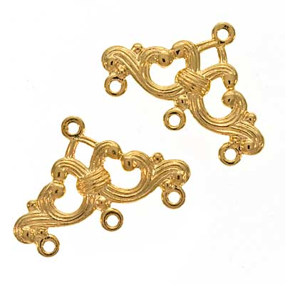 22K Gold Plated Ornate Triple Bead Strand Reducer Connector (x2)