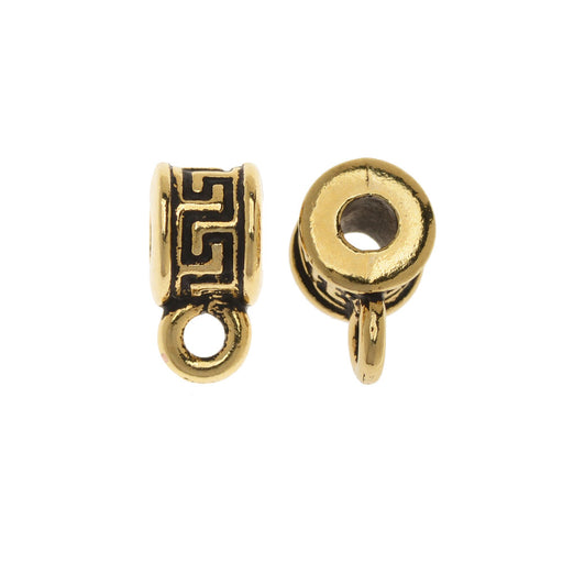 Spacer Bail, Round with Meander Pattern 10.5mm, 2 Pieces, Antiqued Gold Plated, By TierraCast