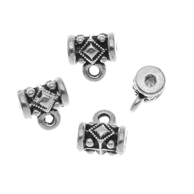 TierraCast Fine Silver Plated Pewter Noble Tube Bails 8mm (4)