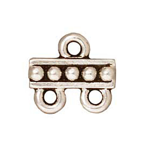 TierraCast Fine Silver Plated Pewter 2-Strand Reducer Bead Bars 10.6mm (2)