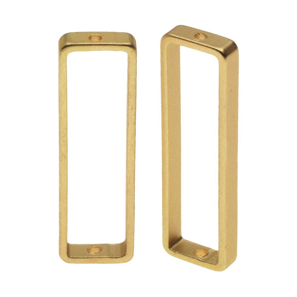 Open Bead Frame, Rectangle with Drilled Through Hole 8x26mm, 2 Pieces, Matte Gold Tone