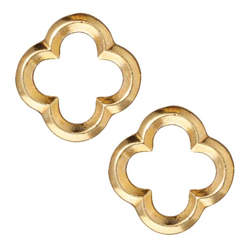 TierraCast Bright 22K Gold Plated Lead-Free Pewter Med Quatrefoil Connector Link 16mm (2)
