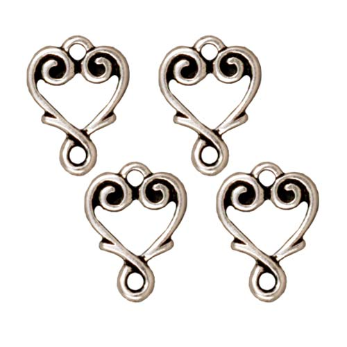 TierraCast Antiqued Silver Plated Lead-Free Pewter Vine Heart Connector Links 13mm (4)