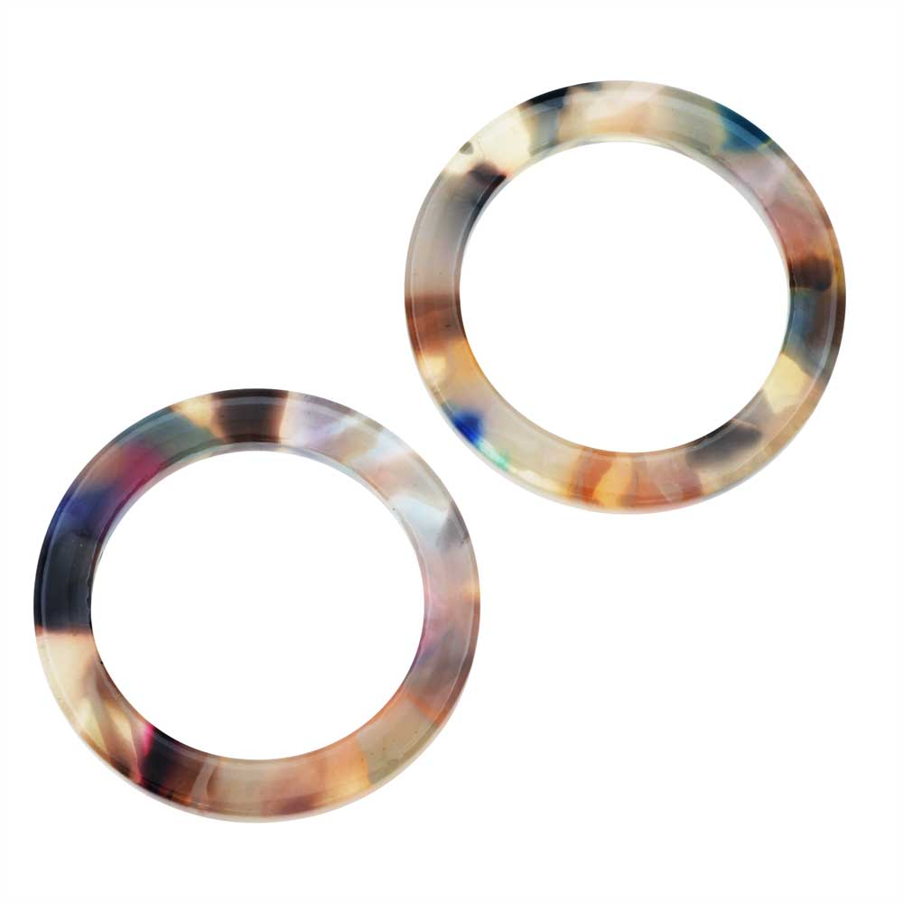 Zola Elements Acetate Connector Link, Garden Party Circle 24mm, 2 Pieces, Multi-Colored