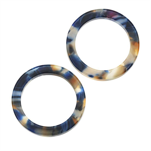 Zola Elements Acetate Connector Link, Twilight Circle 24mm, 2 Pieces, Blue Multi-Colored