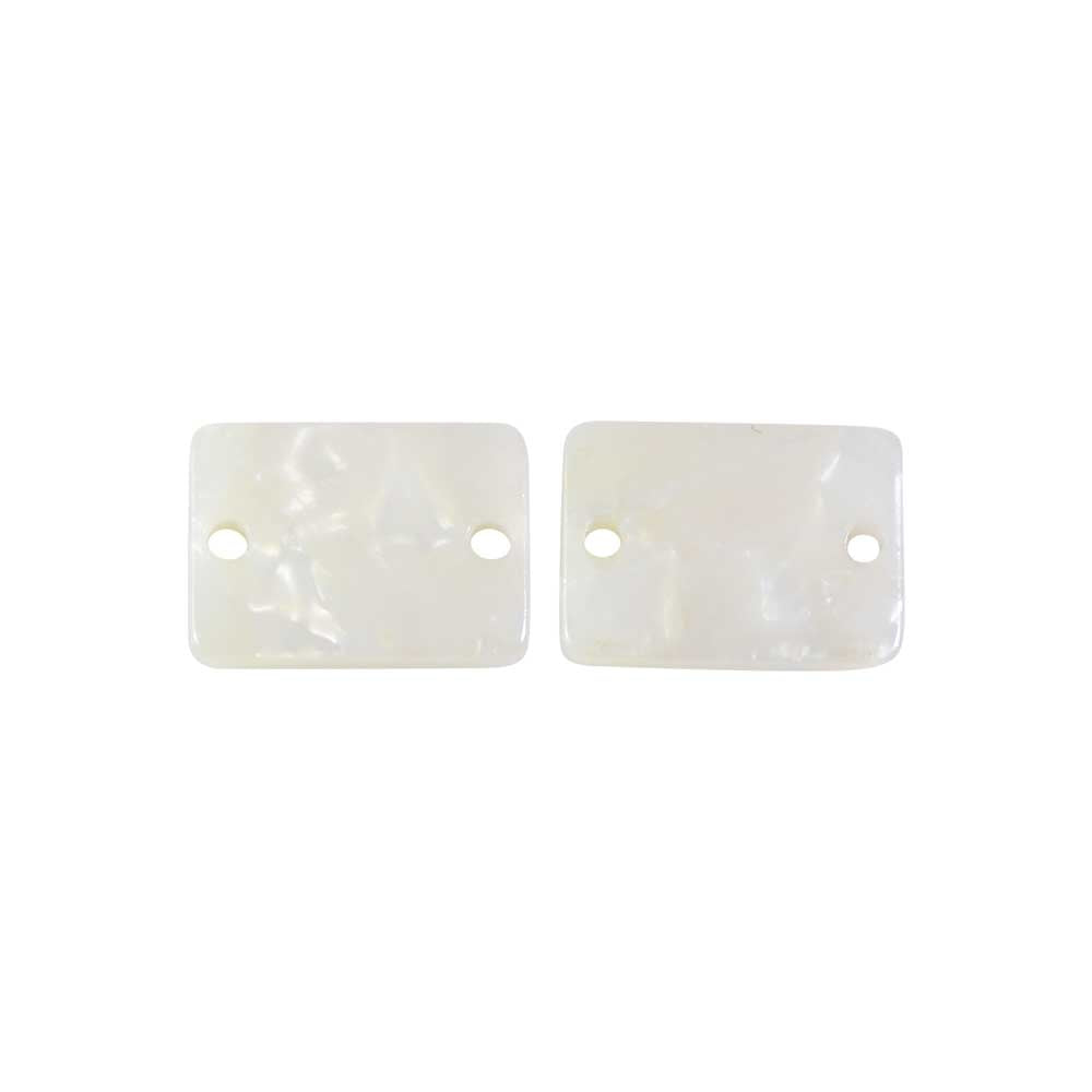 Zola Elements Acetate Connector Link, Rectangle 14x10mm, 2 Pieces, Pearl White