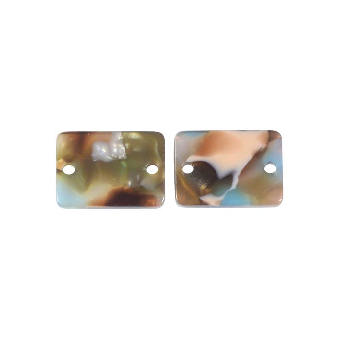 Zola Elements Acetate Connector Link, Mermaid Rectangle 14x10mm, 2 Pieces, Multi-Colored