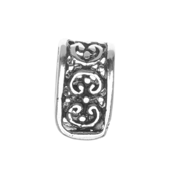 Sterling Silver Ornate Pinch Bail Large (For Pendants)