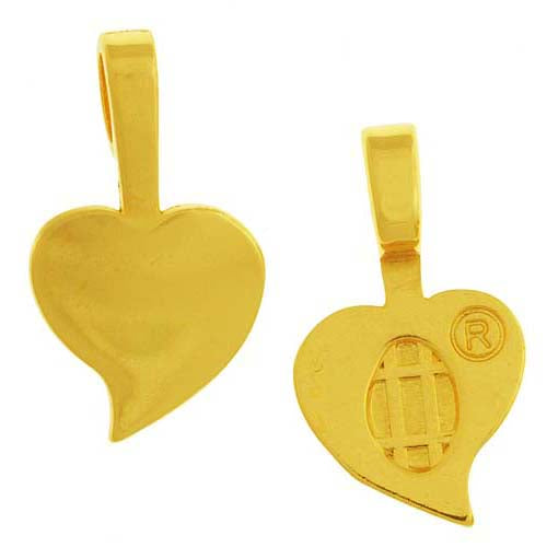 Aanraku, Heart Shaped Glue-On Pendant Bails, Large, 10 Pieces, Gold Plated