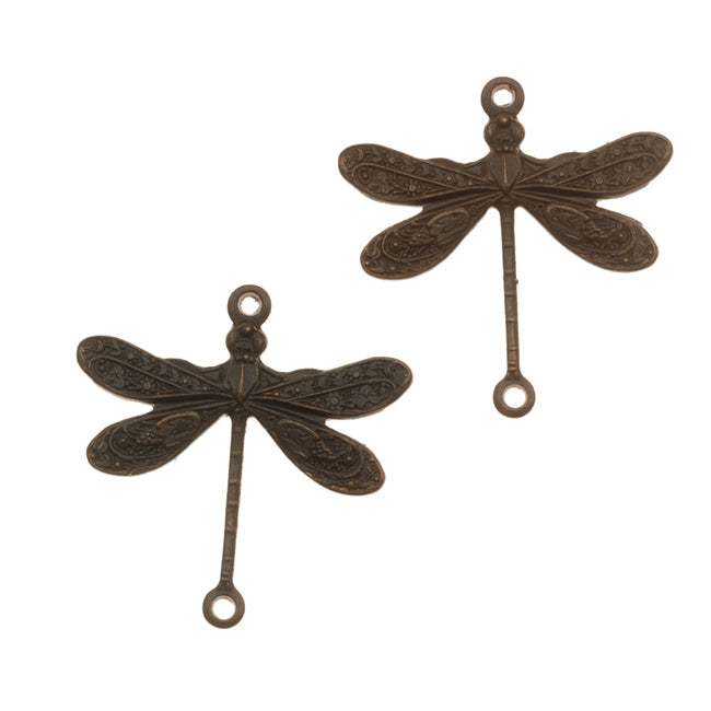 Vintaj Natural Brass 2-Hole Dragonfly Connector Beads 17mm (2)