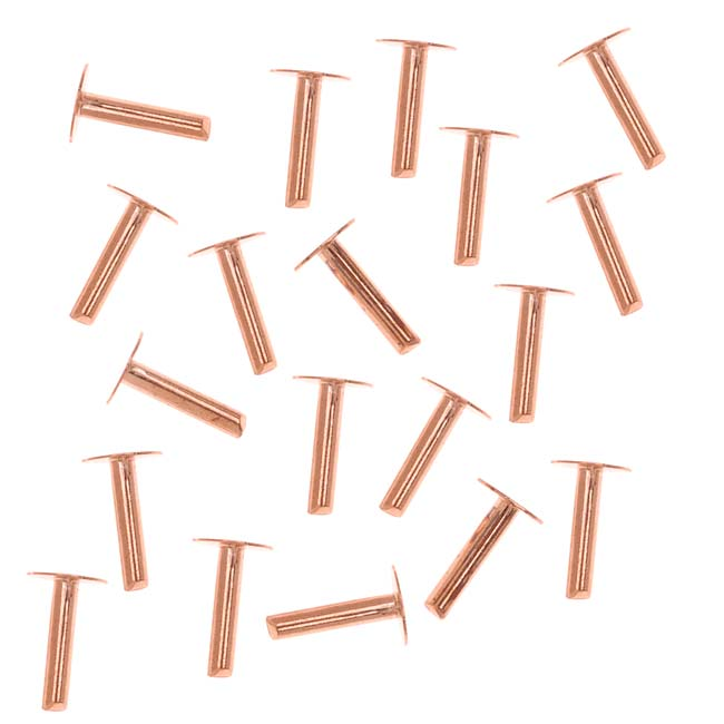 Copper 1/4 Inch Nail Head Rivets for Leather 1.3mm Diameter, 20 Pieces