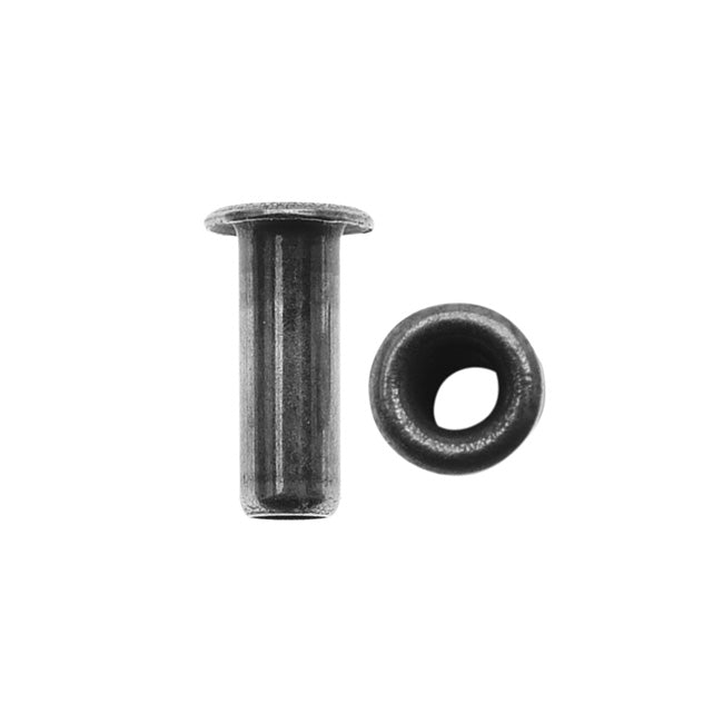 TierraCast Hollow Eyelets for Leather 7mm Long 3.8mm Diameter, 10 Pieces, Antiqued Pewter Color