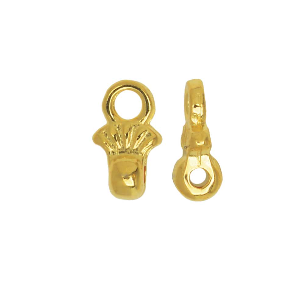 Cymbal Bead Endings fit 8/0 Round Beads, Pilos, 6.5mm, 4 Pieces, 24kt Gold Plated
