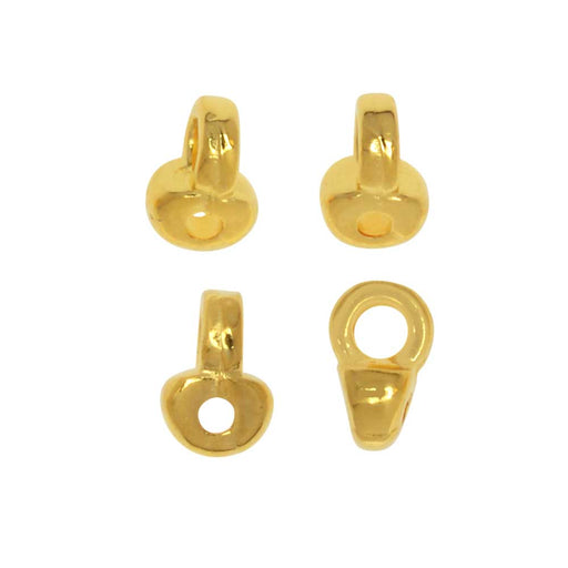 Cymbal Bead Endings fit Superduo Beads, Remata, 5mm, 4 Pieces, 24kt Gold Plated