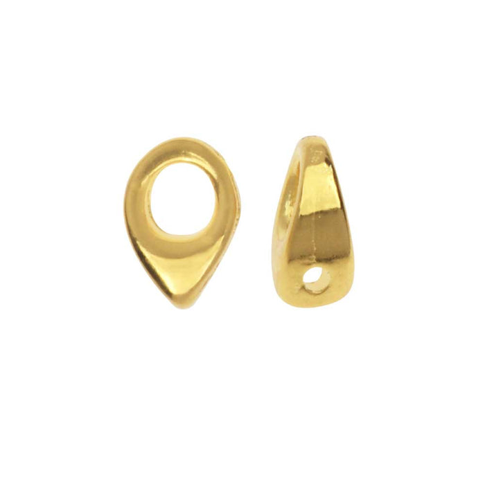 Cymbal Bead Endings fit Superduo Beads, Kolympos, 6.5mm, 4 Pieces, 24kt Gold Plated