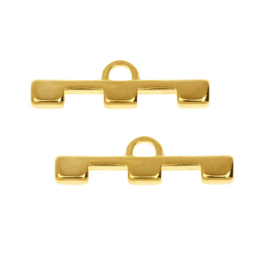 Cymbal Bead Endings fit Tila Beads, Soros III, 7.5mm, 2 Pieces, 24kt Gold Plated