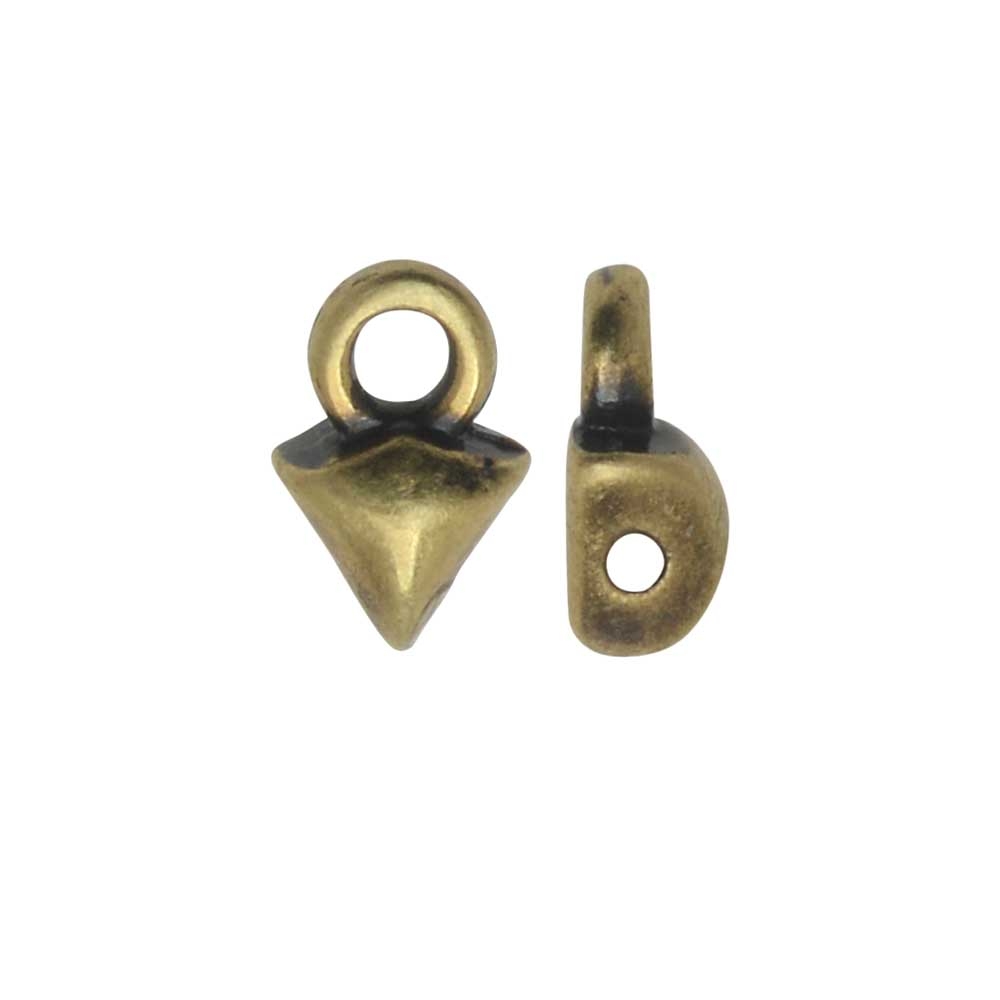 Cymbal Bead Endings fit GemDuo Beads, Kleftiko, 7mm, 4 Pieces, Antiqued Brass Plated