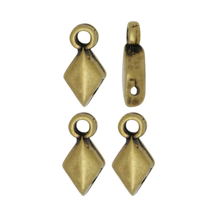 Cymbal Bead Endings fit GemDuo Beads, Sykia, 10.5mm, 4 Pieces, Antiqued Brass Plated