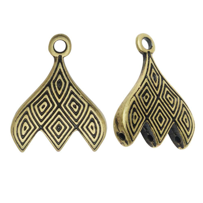 Cymbal Bead Endings fit GemDuo Beads, Tourlos III, 18mm, 2 Pieces, Antiqued Brass Plated