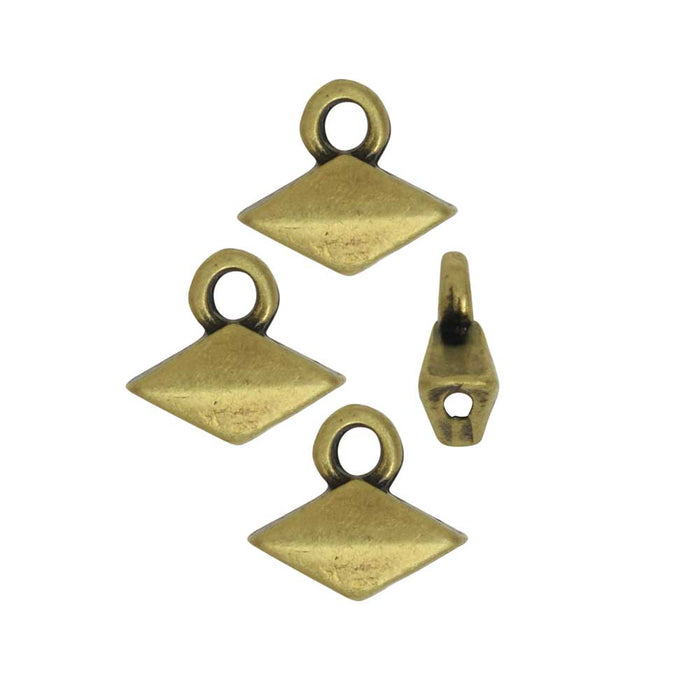Cymbal Bead Endings fit GemDuo Beads, Komia, 6.5mm, 4 Pieces, Antiqued Brass Plated