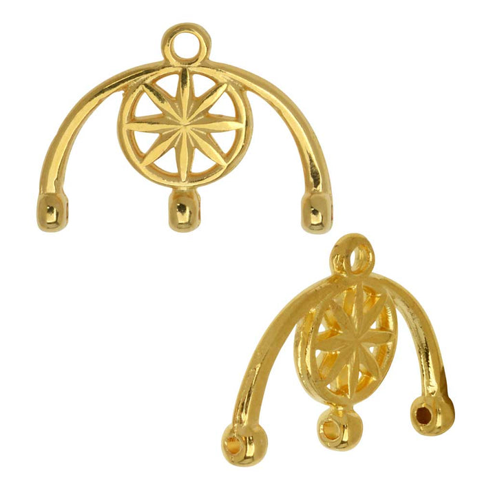 Cymbal Bead Endings fit 8/0 Round Beads, Amatos III, 13mm, 2 Pieces, 24k Gold Plated