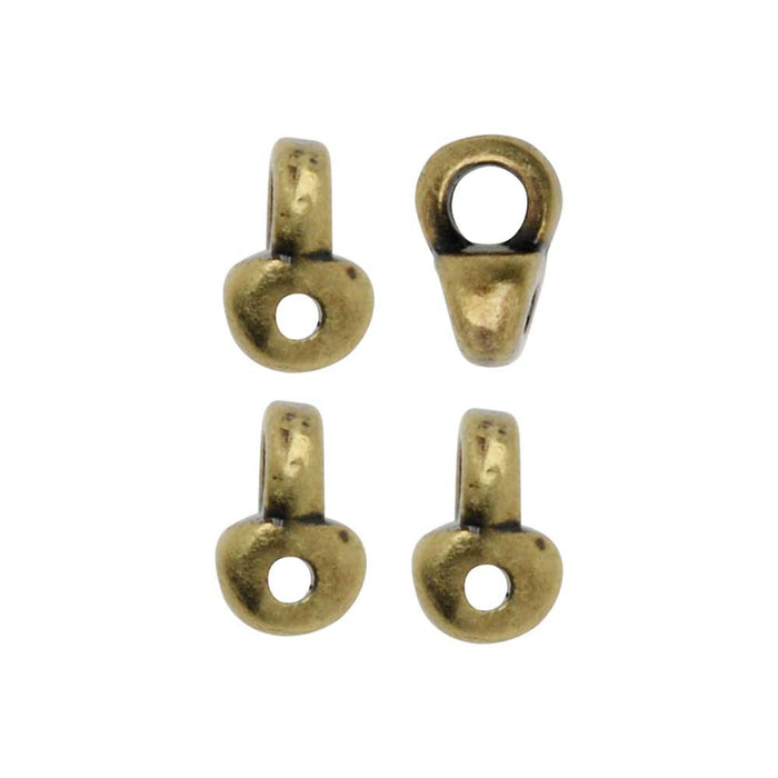 Cymbal Bead Endings fit Superduo Beads, Remata, 5mm, 4 Pieces, Antiqued Brass Plated
