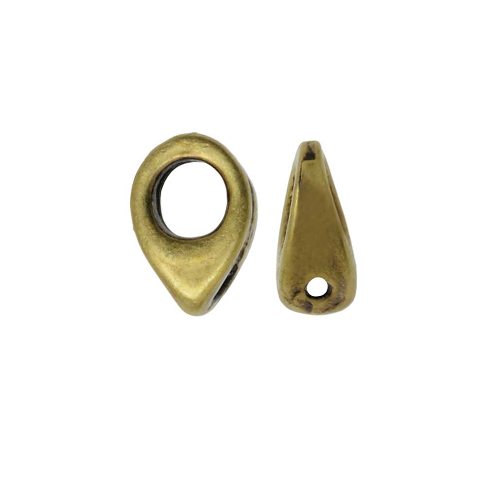 Cymbal Bead Endings fit Superduo Beads, Kolympos, 6.5mm, 4 Pieces, Antiqued Brass Plated