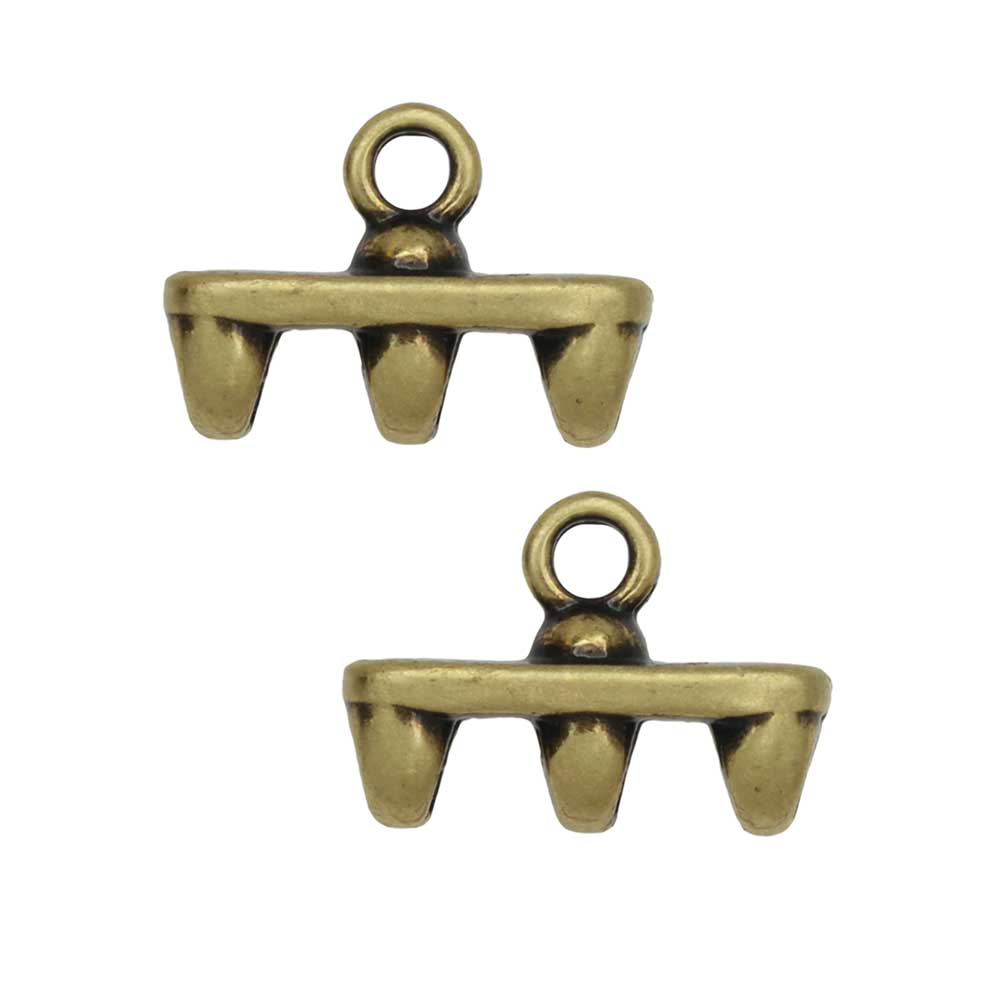 Cymbal Bead Endings fit Superduo Beads, Rozos III, 8mm, 2 Pieces, Antiqued Brass Plated
