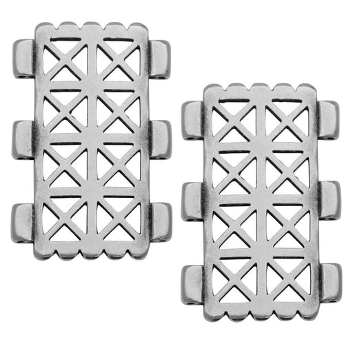 Cymbal Connector fits Tila Beads, Faragas, Rectangle 30.5mm, 2 Pieces, Antiqued Silver Plated