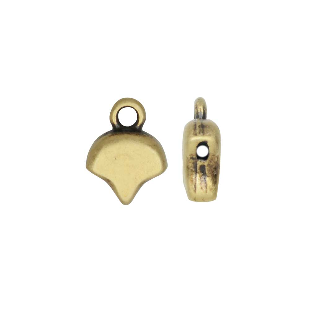 Cymbal Bead Endings for Ginko Beads, Kastro, 10x7mm, 2 Pieces, Antiqued Brass Plated