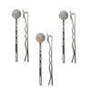 Silver Plated Metal Bobby Pins With 10mm Pad For Gluing (6 Bobby Pins)