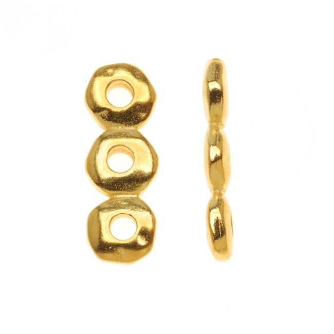 Metal Spacer Bead, 3-Strand Nugget Bar 18.5x6.5mm, 2 Pieces, Gold Plated, By TierraCast