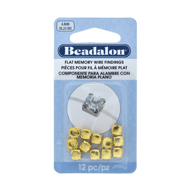 Beadalon Flat Memory Wire Findings, Round 6mm Cups, 12 Pieces, Gold Plated