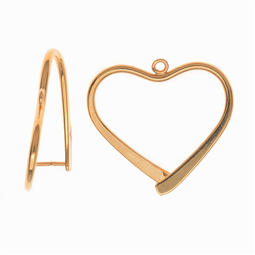 Pinch Bail for Earrings or Pendants, Heart Shaped, 26.5mm, 2 Pieces, Gold Plated