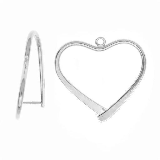 Pinch Bail for Earrings or Pendants, Heart Shaped, 26.5mm, Silver Plated (2 Pieces)