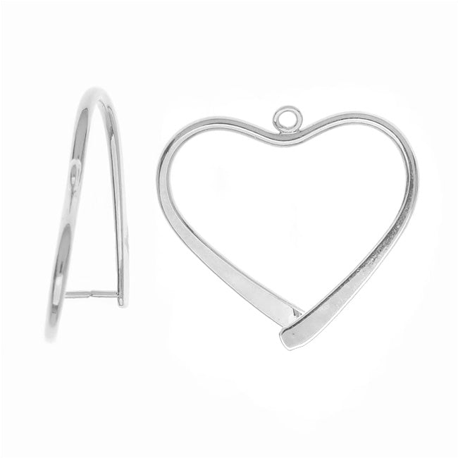 Pinch Bail for Pendants, Heart Shaped, 26.5mm, 2 Pieces, Silver Plated