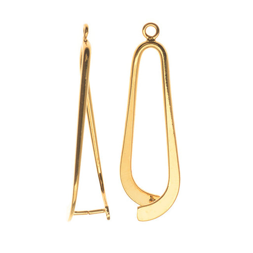 Pinch Bail for Earrings or Pendants, Tear Drop Design, 34mm, Gold Plated (2 Pieces)