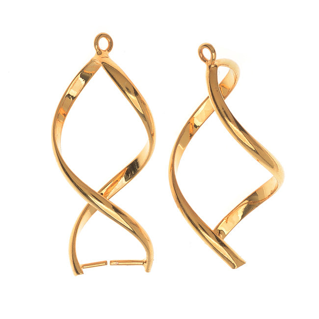 Pinch Bail for Pendants, Single Twist, 32mm, 2 Pieces, Gold Plated
