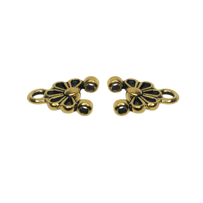 Connector Link, Oasis 14mm, Antiqued Gold, 2 Pieces, By TierraCast