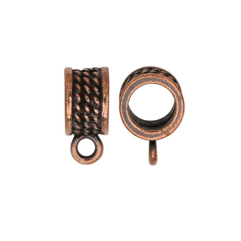 Slider Bail, Roped Round 16mm, Fits 8mm Cord, Antiqued Copper, 2 Pieces, By TierraCast