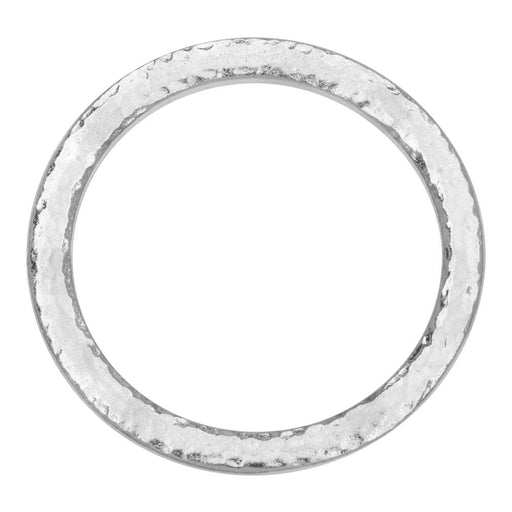 Connector Link, Hammertone Ring 31.5mm, 1 Piece, Bright Rhodium, by TierraCast